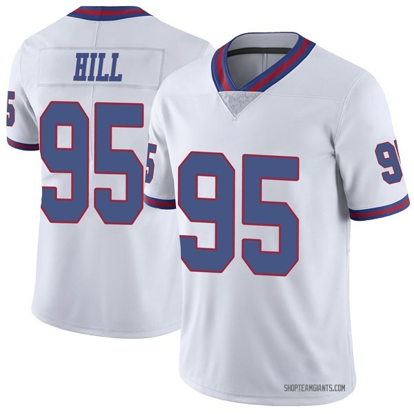 B.J. Hill New York Giants Limited White Color Rush Jersey