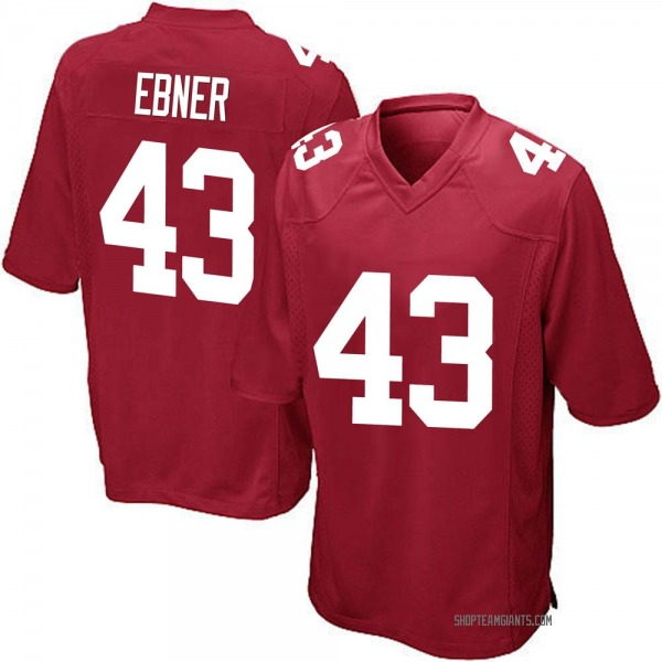 Youth Nate Ebner New York Giants Game Red Alternate Jersey
